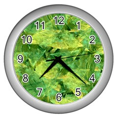 Green Springtime Leafs Wall Clocks (silver)