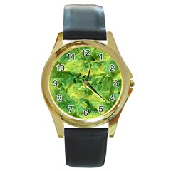 Green Springtime Leafs Round Gold Metal Watch