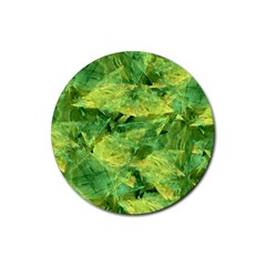 Green Springtime Leafs Rubber Round Coaster (4 Pack)