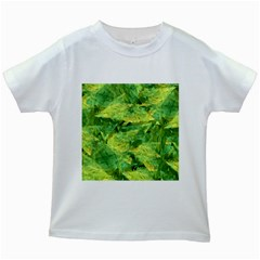 Green Springtime Leafs Kids White T Shirts