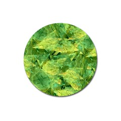 Green Springtime Leafs Magnet 3  (round)