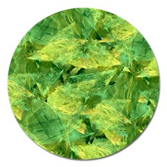 Green Springtime Leafs Magnet 5  (round)