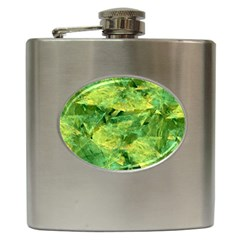 Green Springtime Leafs Hip Flask (6 Oz)