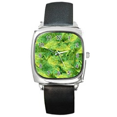 Green Springtime Leafs Square Metal Watch