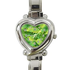Green Springtime Leafs Heart Italian Charm Watch