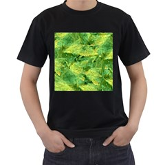 Green Springtime Leafs Men s T Shirt (black) (two Sided)
