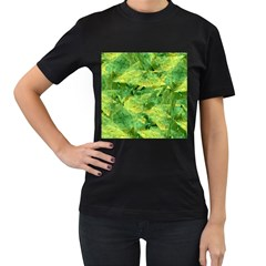 Green Springtime Leafs Women s T Shirt (black) (two Sided)