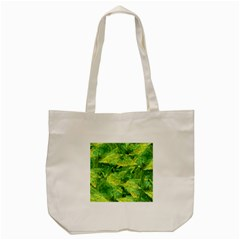 Green Springtime Leafs Tote Bag (cream)