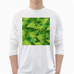 Green Springtime Leafs White Long Sleeve T Shirts