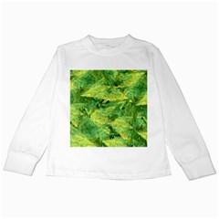 Green Springtime Leafs Kids Long Sleeve T Shirts