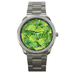 Green Springtime Leafs Sport Metal Watch