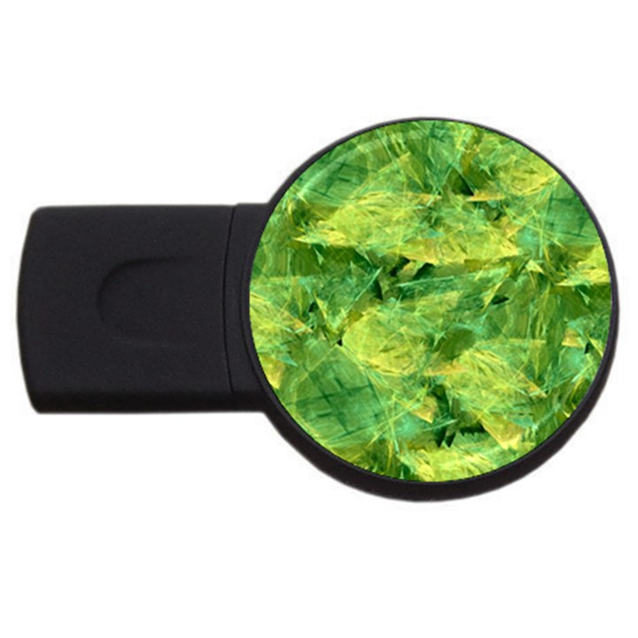 Green Springtime Leafs USB Flash Drive Round (4 GB)