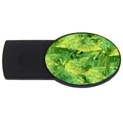 Green Springtime Leafs Usb Flash Drive Oval (4 Gb)
