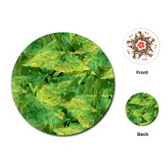 Green Springtime Leafs Playing Cards (round)