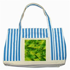 Green Springtime Leafs Striped Blue Tote Bag