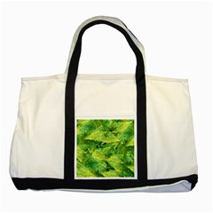 Green Springtime Leafs Two Tone Tote Bag
