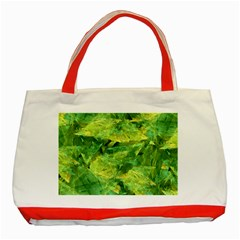 Green Springtime Leafs Classic Tote Bag (red)