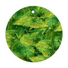 Green Springtime Leafs Round Ornament (two Sides)
