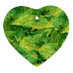 Green Springtime Leafs Heart Ornament (two Sides)