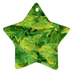 Green Springtime Leafs Star Ornament (two Sides)