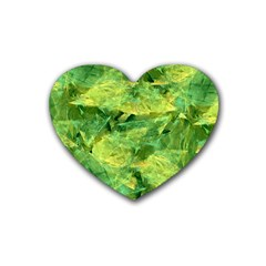 Green Springtime Leafs Rubber Coaster (heart)