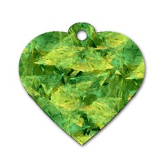 Green Springtime Leafs Dog Tag Heart (two Sides)