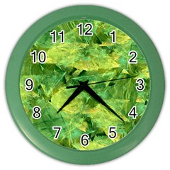 Green Springtime Leafs Color Wall Clocks