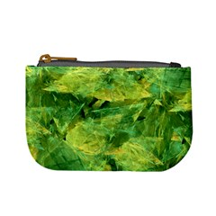 Green Springtime Leafs Mini Coin Purses