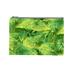 Green Springtime Leafs Cosmetic Bag (large)