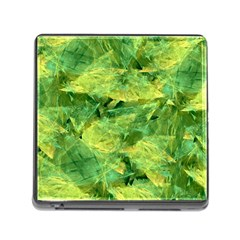 Green Springtime Leafs Memory Card Reader (square)