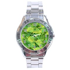 Green Springtime Leafs Stainless Steel Analogue Watch