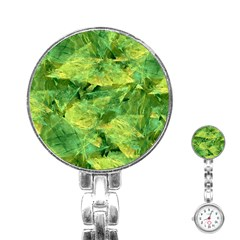 Green Springtime Leafs Stainless Steel Nurses Watch