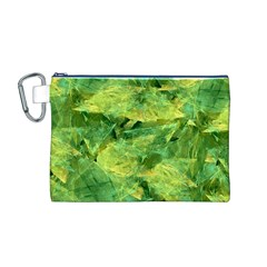 Green Springtime Leafs Canvas Cosmetic Bag (m)