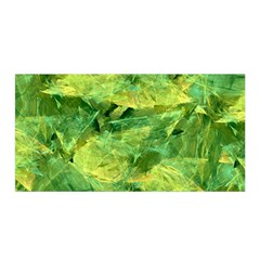 Green Springtime Leafs Satin Wrap