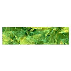 Green Springtime Leafs Satin Scarf (oblong)