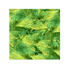 Green Springtime Leafs Small Satin Scarf (square)