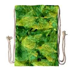 Green Springtime Leafs Drawstring Bag (large)
