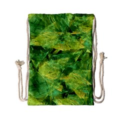 Green Springtime Leafs Drawstring Bag (small)