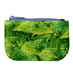 Green Springtime Leafs Large Coin Purse