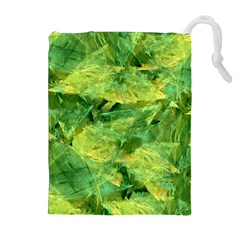 Green Springtime Leafs Drawstring Pouches (extra Large)