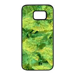 Green Springtime Leafs Samsung Galaxy S7 Edge Black Seamless Case