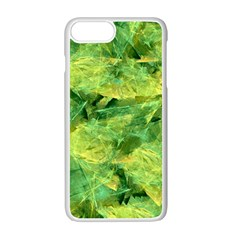 Green Springtime Leafs Apple Iphone 7 Plus White Seamless Case