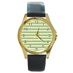 Spring Stripes Round Gold Metal Watch
