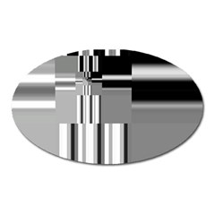 Black And White Endless Window Oval Magnet