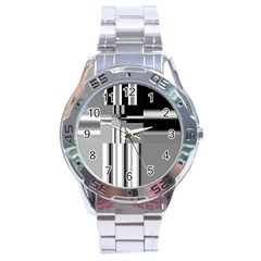 Black And White Endless Window Stainless Steel Analogue Watch