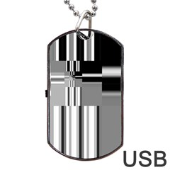Black And White Endless Window Dog Tag Usb Flash (two Sides)