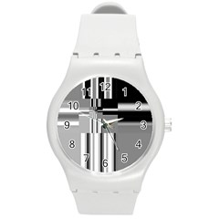 Black And White Endless Window Round Plastic Sport Watch (m)