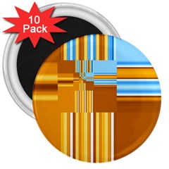 Endless Window Blue Gold 3  Magnets (10 Pack)
