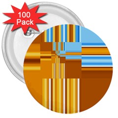 Endless Window Blue Gold 3  Buttons (100 Pack)
