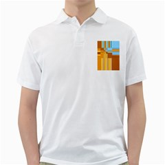 Endless Window Blue Gold Golf Shirts